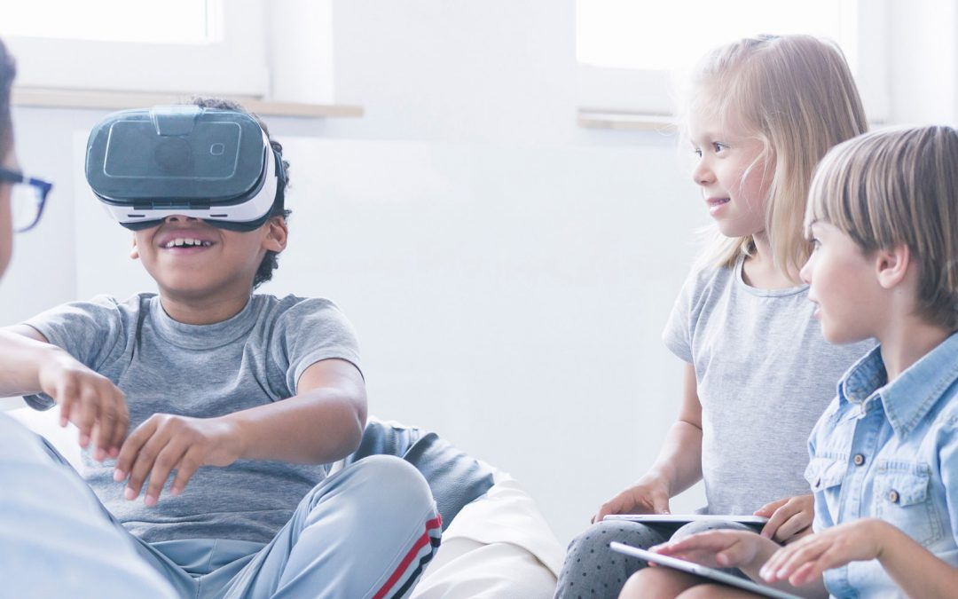 Child wearing VR headset classroom
