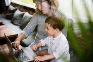 Grandmother Grandson Family Laptop Digital